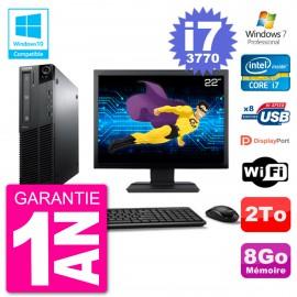 "PC Lenovo M82 SFF Ecran 22"" i7-3770 RAM 8Go Disque 2To Graveur DVD Wifi W7"