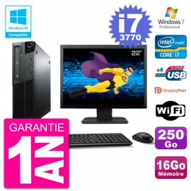 "PC Lenovo M82 SFF Ecran 22"" i7-3770 RAM 16Go Disque 250Go Graveur DVD Wifi W7"