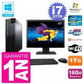 "PC Lenovo M82 SFF Ecran 22"" i7-3770 RAM 16Go Disque 1To Graveur DVD Wifi W7"