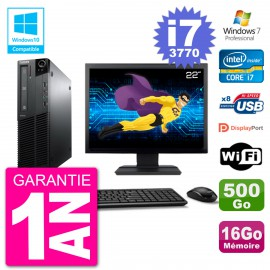 "PC Lenovo M82 SFF Ecran 22"" i7-3770 RAM 16Go Disque 500Go Graveur DVD Wifi W7"