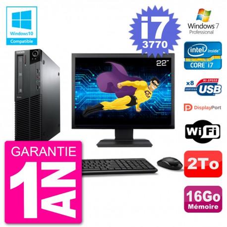 "PC Lenovo M82 SFF Ecran 22"" i7-3770 RAM 16Go Disque 2To Graveur DVD Wifi W7"