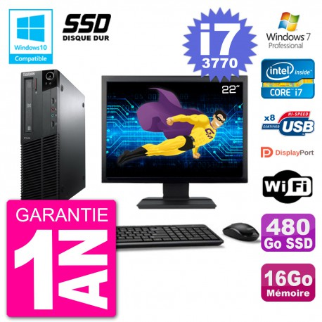 "PC Lenovo M82 SFF Ecran 22"" i7-3770 RAM 16Go SSD 480Go Graveur DVD Wifi W7"