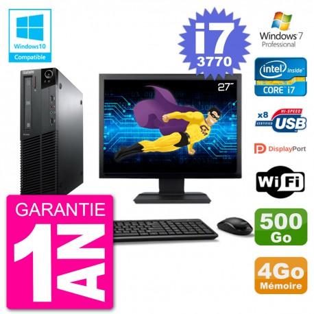 "PC Lenovo M82 SFF Ecran 27"" i7-3770 RAM 4Go Disque 500Go Graveur DVD Wifi W7"