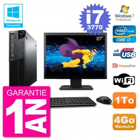 "PC Lenovo M82 SFF Ecran 27"" i7-3770 RAM 4Go Disque 1To Graveur DVD Wifi W7"