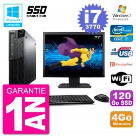 "PC Lenovo M82 SFF Ecran 27"" i7-3770 RAM 4Go SSD 120Go Graveur DVD Wifi W7"