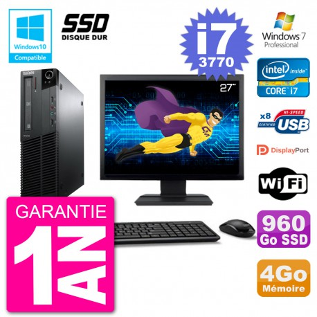 "PC Lenovo M82 SFF Ecran 27"" i7-3770 RAM 4Go SSD 960Go Graveur DVD Wifi W7"