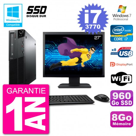 "PC Lenovo M82 SFF Ecran 27"" i7-3770 RAM 8Go SSD 960Go Graveur DVD Wifi W7"