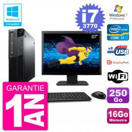 "PC Lenovo M82 SFF Ecran 27"" i7-3770 RAM 16Go Disque 250Go Graveur DVD Wifi W7"