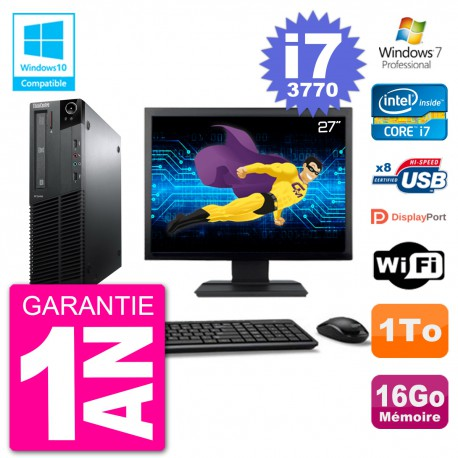 "PC Lenovo M82 SFF Ecran 27"" i7-3770 RAM 16Go Disque 1To Graveur DVD Wifi W7"