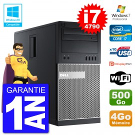 PC Tour DELL 9020 Intel Core I7-4790 RAM 4Go Disque 500Go Graveur DVD Wifi W7
