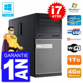 PC Tour DELL 9020 Intel Core I7-4790 RAM 4Go Disque Dur 1To Graveur DVD Wifi W7