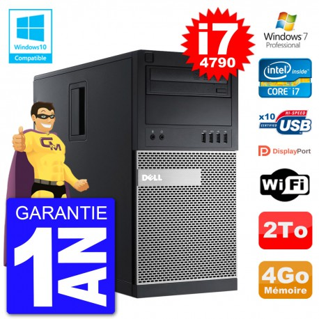 PC Tour DELL 9020 Intel Core I7-4790 RAM 4Go Disque Dur 2To Graveur DVD Wifi W7