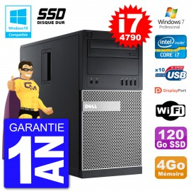 PC Tour DELL 9020 Intel Core I7-4790 RAM 4Go SSD 120Go Graveur DVD Wifi W7
