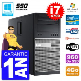 PC Tour DELL 9020 Intel Core I7-4790 RAM 4Go SSD 960Go Graveur DVD Wifi W7