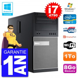 PC Tour DELL 9020 Intel Core I7-4790 RAM 8Go Disque Dur 1To Graveur DVD Wifi W7