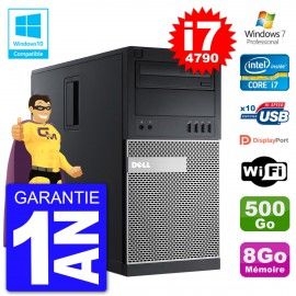 PC Tour DELL 9020 Intel Core I7-4790 RAM 8Go Disque 500Go Graveur DVD Wifi W7