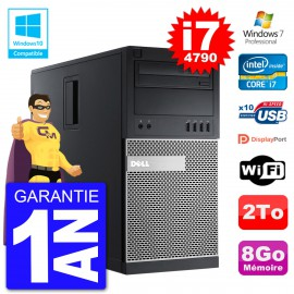 PC Tour DELL 9020 Intel Core I7-4790 RAM 8Go Disque Dur 2To Graveur DVD Wifi W7