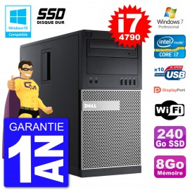 PC Tour DELL 9020 Intel Core I7-4790 RAM 8Go SSD 240Go Graveur DVD Wifi W7