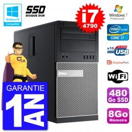 PC Tour DELL 9020 Intel Core I7-4790 RAM 8Go SSD 480Go Graveur DVD Wifi W7