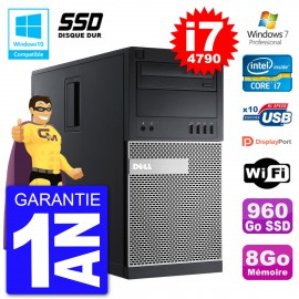 PC Tour DELL 9020 Intel Core I7-4790 RAM 8Go SSD 960Go Graveur DVD Wifi W7