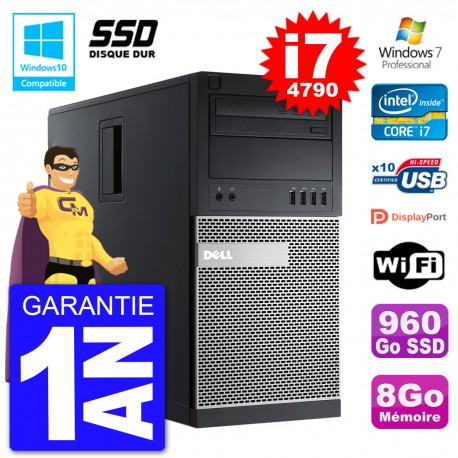 PC Tour DELL 9020 Intel Core I7-4790 RAM 8Go SSD 960Go Graveur DVD Wifi W7