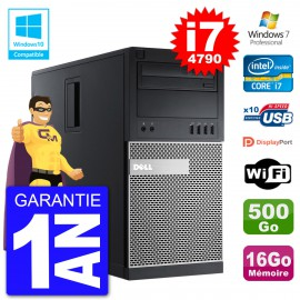 PC Tour DELL 9020 Intel Core I7-4790 RAM 16Go Disque 500Go Graveur DVD Wifi W7