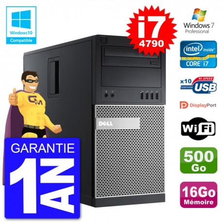 PC Tour DELL 9020 Intel Core I7-4790 RAM 16Go Disque 500Go Graveur DVD Wifi W7