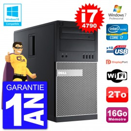 PC Tour DELL 9020 Intel Core I7-4790 RAM 16Go Disque 2To Graveur DVD Wifi W7