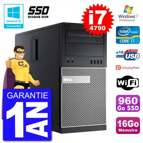 PC Tour DELL 9020 Intel Core I7-4790 RAM 16Go SSD 960Go Graveur DVD Wifi W7