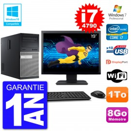 "PC Tour DELL 9020 Ecran 19"" Core i7-4790 RAM 8Go Disque 1To Graveur DVD Wifi W7"