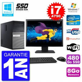 "PC Tour DELL 9020 Ecran 19"" Core i7-4790 RAM 8Go SSD 480Go Graveur DVD Wifi W7"