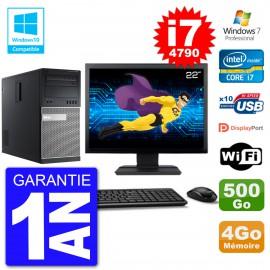 "PC Tour DELL 9020 Ecran 22"" i7-4790 RAM 4Go Disque 500Go Graveur DVD Wifi W7"