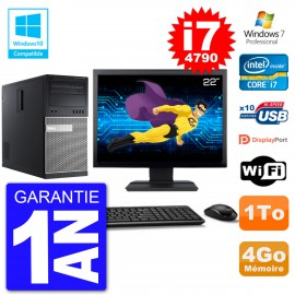 "PC Tour DELL 9020 Ecran 22"" Core i7-4790 RAM 4Go Disque 1To Graveur DVD Wifi W7"