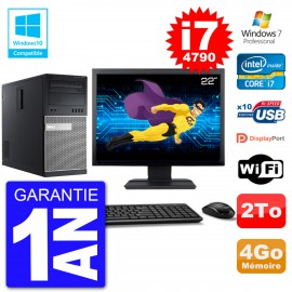 "PC Tour DELL 9020 Ecran 22"" Core i7-4790 RAM 4Go Disque 2To Graveur DVD Wifi W7"