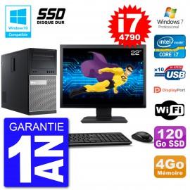 """PC Tour DELL 9020 Ecran 22"""" Core i7-4790 RAM 4Go SSD 120Go Graveur DVD Wifi W7"""