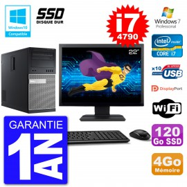 "PC Tour DELL 9020 Ecran 22"" Core i7-4790 RAM 4Go SSD 120Go Graveur DVD Wifi W7"