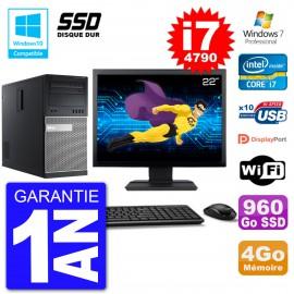 """PC Tour DELL 9020 Ecran 22"""" Core i7-4790 RAM 4Go SSD 960Go Graveur DVD Wifi W7"""