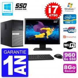 """PC Tour DELL 9020 Ecran 22"""" Core i7-4790 RAM 8Go SSD 960Go Graveur DVD Wifi W7"""
