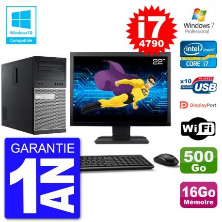 "PC Tour DELL 9020 Ecran 22"" i7-4790 RAM 16Go Disque 500Go Graveur DVD Wifi W7"