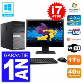 "PC Tour DELL 9020 Ecran 27"" Core i7-4790 RAM 4Go Disque 1To Graveur DVD Wifi W7"