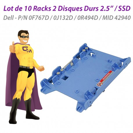 "Lot x10 Racks 2 Disques Durs 2.5"" SSD Dell 0F767D 0J132D 0R494D MID 42940"