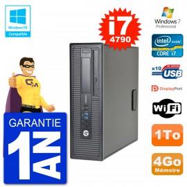 PC HP EliteDesk 800 G1 SFF i7-4790 RAM 4Go Disque 1To Graveur DVD Wifi W7