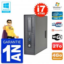 PC HP EliteDesk 800 G1 SFF i7-4790 RAM 4Go Disque 2To Graveur DVD Wifi W7