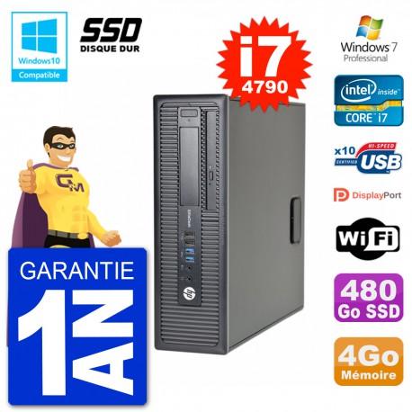 PC HP EliteDesk 800 G1 SFF i7-4790 RAM 4Go SSD 480Go Graveur DVD Wifi W7