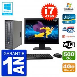 """PC HP EliteDesk 800 G1 SFF Ecran 19"""" i7-4790 4Go 500Go Graveur DVD Wifi W7"""