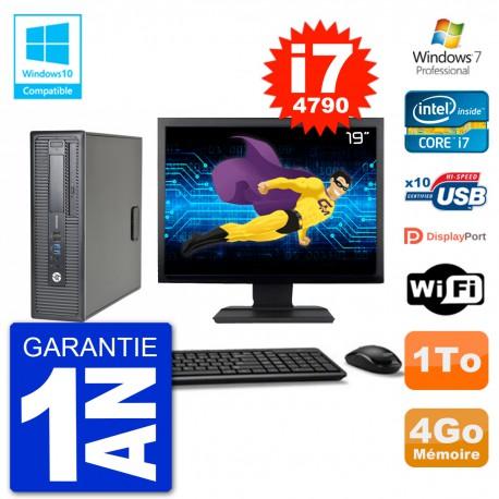 """PC HP EliteDesk 800 G1 SFF Ecran 19"""" i7-4790 4Go Disque 1To Graveur DVD Wifi W7"""