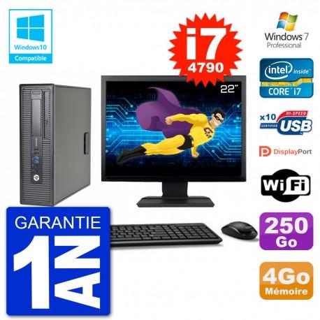 """PC HP EliteDesk 800 G1 SFF Ecran 22"""" i7-4790 4Go 250Go Graveur DVD Wifi W7"""