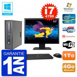 """PC HP EliteDesk 800 G1 SFF Ecran 22"""" i7-4790 4Go Disque 1To Graveur DVD Wifi W7"""