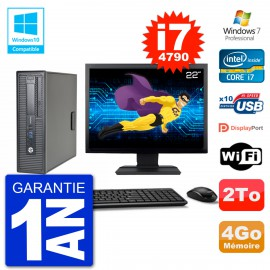 """PC HP EliteDesk 800 G1 SFF Ecran 22"""" i7-4790 4Go Disque 2To Graveur DVD Wifi W7"""