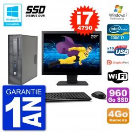 "PC HP EliteDesk 800 G1 SFF Ecran 22"" i7-4790 4Go SSD 960Go Graveur DVD Wifi W7"